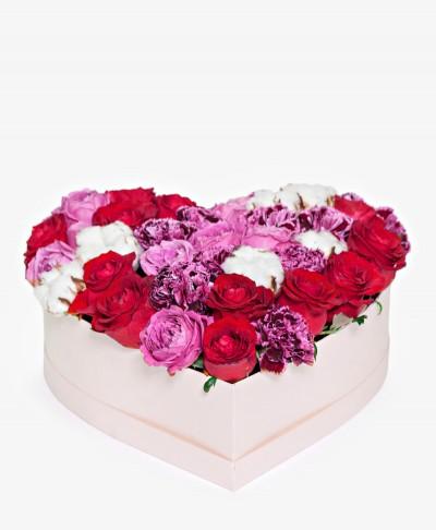 """Květiny Mix """"Srdce"""" v krabici"""