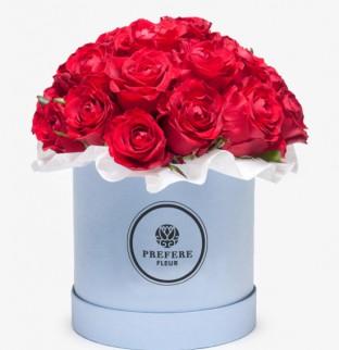 Klasické rudé růže v kloboukové krabici Demi