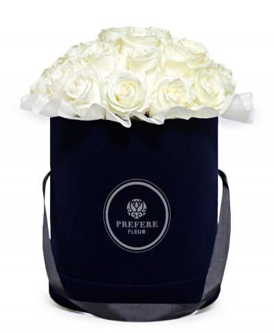 Bílé růže v kloboukové krabici Black
