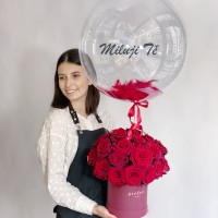 Roses in a box with balloon