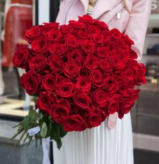 51 červených růží 40 cm