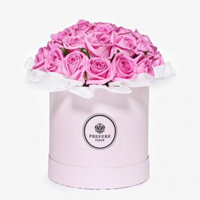 Růže Aqua v kloboukové krabici Demi Pink