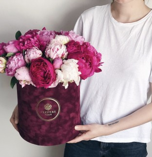 Peony in a hat box